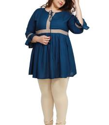 Rayon Slub Peacock Blue with woven lace pattern Plus size ladies top