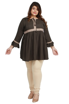 Rayon Slub Dark Green with woven lace pattern Plus size Ladies top