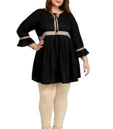 Rayon Slub Black with woven Lace patter Plus size Ladies top