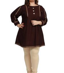Rayon Slub Brown with woven Lace and wooden button  patter Plus size Ladies short top
