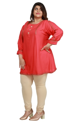 Rayon Slub Light Pink with woven Lace and wooden button  patter Plus size Ladies short top