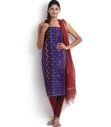 blue embroidered cotton silk unstitched chikankari salwar with dupatta