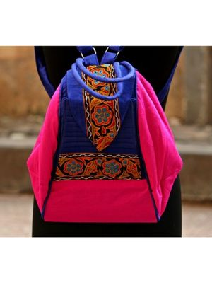 Pink BLue cotton Embroidery  College Bag