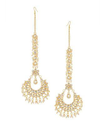 Kundan Chand Earrings With Kundan Ear Chains