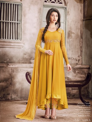 Yellow embroidered faux georgette Anarkali