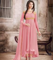 Pink embroidered faux georgette Anarkali