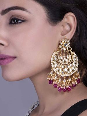 tanaaz Maroon kundan chandbali earrings