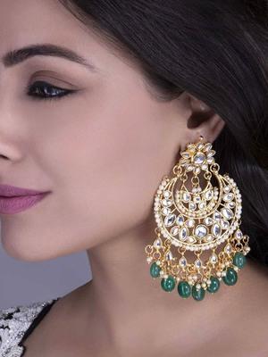 tanaaz Green kundan chandbali earrings