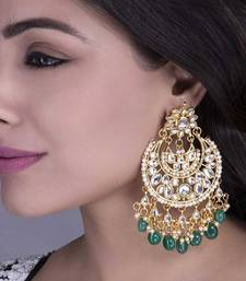 tanaaz Green kundan chandbali earrings