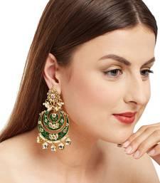 green Kundan Meenakari Earrings