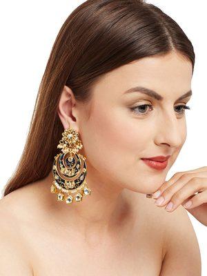 Blue Kundan Meenakari Earrings
