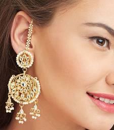 aisha White kundan chandbali earrings
