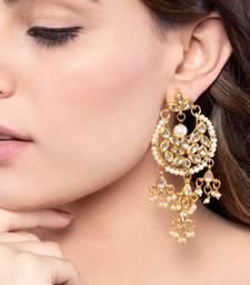 White kundan chandbali earrings