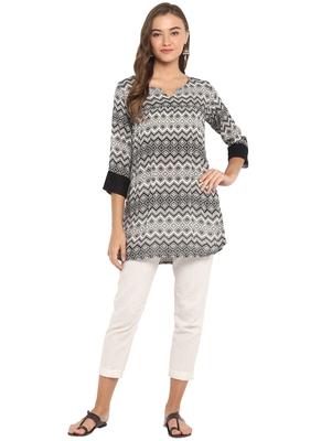 off white rayon straight print straight stitched kurta