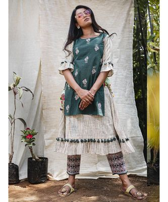 Green khadi two layer frilled Khadi  Embroidered kurta