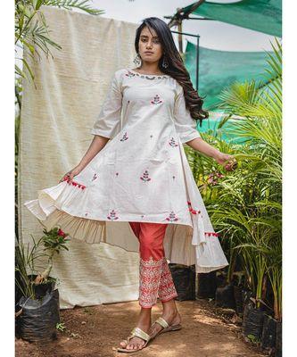 White Frilled Unique Style Khadi Embroidered  Kurta