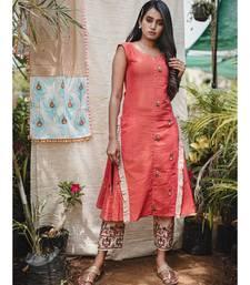 Gajari Two Sided Embroidered  Khadi Frill Sleeveless Kurta