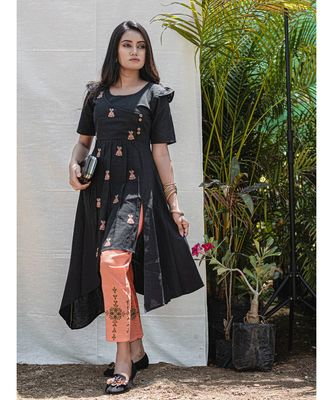 Black Assymetric Khadi Embroidered Kurta with wooden buttons