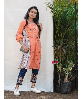 Orange Flap Assymetric Khadi Embroidered Kurta with wooden butttons