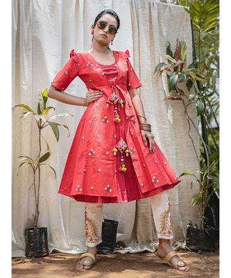 Red Rowdy Butti Embroidered Khadi Kurta with hangings