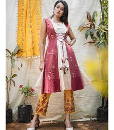 Off-White- Beige Jacket Style Embroidered Kurta with Hangings