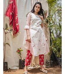 White and Stripie Jawahar Khadi Embroidered butti kurta