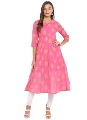 pink poly anarkali print  anarkali stitched kurta
