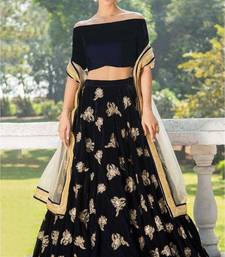Navy-blue embroidered velvet semi stitched lehenga