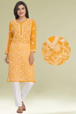 Ada Mustard Faux Georgette Hand Embroidered  Lucknowi Chikankari Kurti