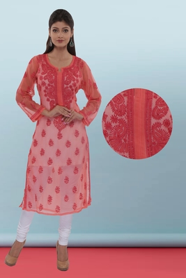 Ada Hand Embroidered Carrot Pink Faux Georgette Lucknowi Chikankari Kurti