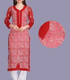 Maroon embroidered faux georgette chikankari-kurtis