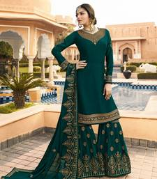 Green embroidered crepe salwar