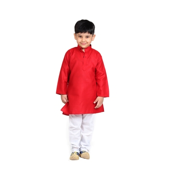 Red plain cotton boys-kurta-pyjama