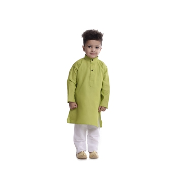 Green Plain Cotton Boys Kurta Pyjama
