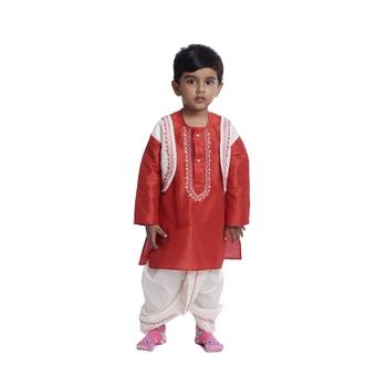 Red plain dupion boys-dhoti-kurta