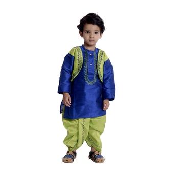 Blue plain dupion boys-dhoti-kurta