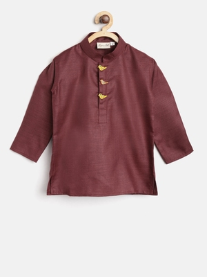 Maroon plain cotton boys-kurta-pyjama