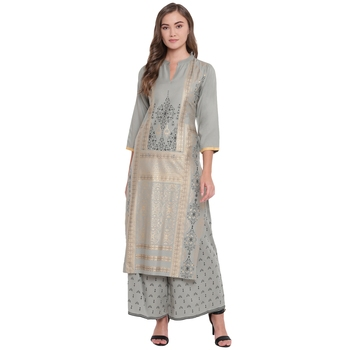 Grey woven rayon kurta and palazzo set