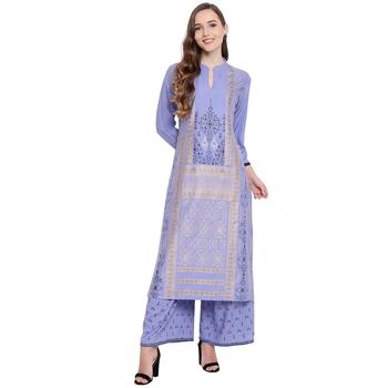 Purple woven rayon kurta and palazzo