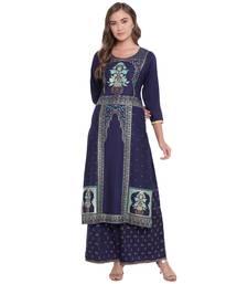 Blue woven rayon kurta and palazzo