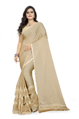 Cream Plain Georgette Saree With Blouse