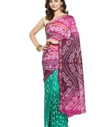 Purple hand woven art silk saree with blouse