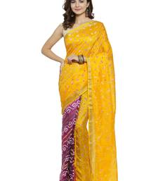 Yellow hand woven art silk saree with blouse