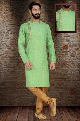 Green Printed Dupion Silk Kurta Pajama