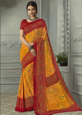 yellow printed chiffon saree with blouse