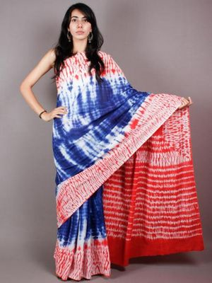 Blue & White Colored Hand Print Saree With White Base In Cotton Mul Fabric