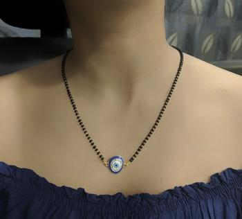 Elegant Gold Blue Diamond Evil-Eye Pendant Mangalsutra Black Beads Single Line Layer Long Chain