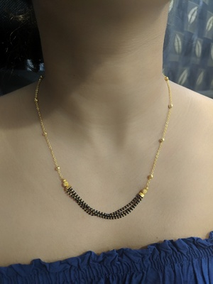 Gold Plated Ball Black Beads Pendant Mangalsutra Gold Mani Single Line Layer Short Chain Necklace
