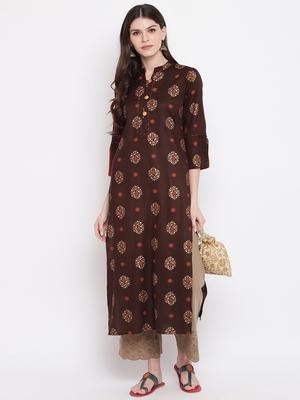 Brown printed rayon ethnic-kurtis
