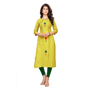 Green plain cotton ethnic-kurtis